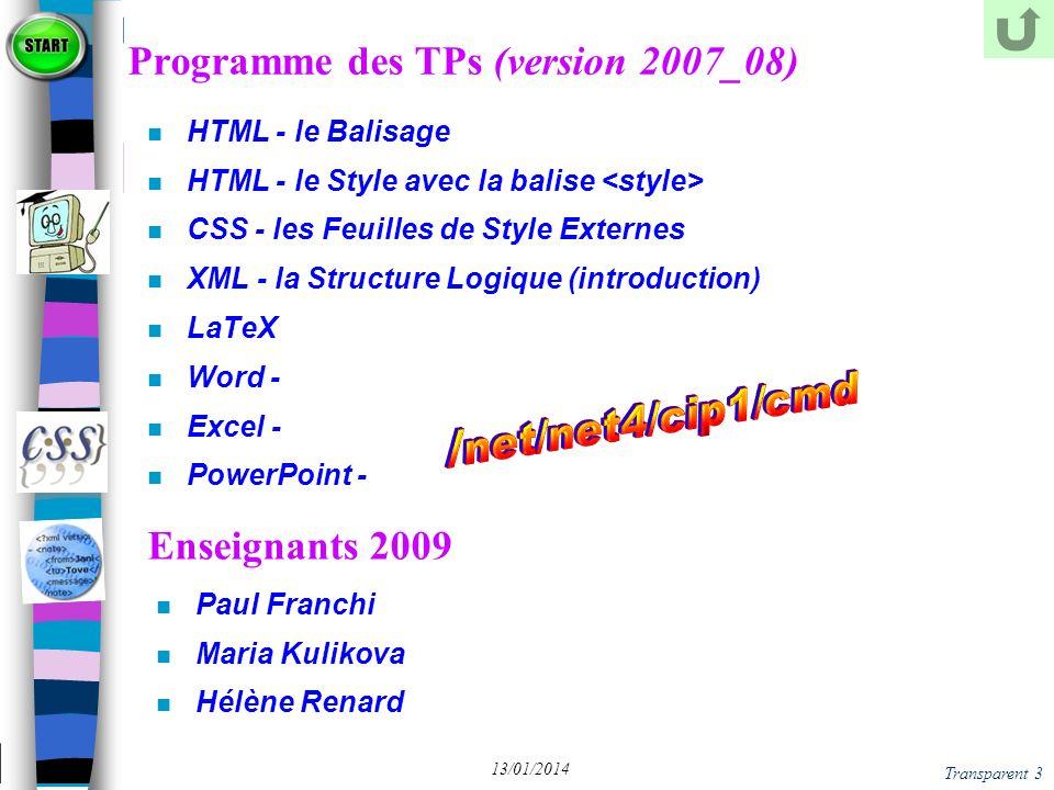 Transparent 64 13/01/2014 XML - Norme Syntaxique Un source XML est dit Bien Formé ssi n il est structuré suivant le schéma: Prologue (facultatif) Arborescence d Eléments Commentaires et Instructions de Traitement (facultatifs) dans le prologue ou l Arborescence n le Prologue se compose: d une balise de déclaration puis en option : d Instructions de Traitement (stylesheet, par ex) d une déclaration de Type de Document (DTD) de commentaires n l Arborescence forme un système de textes, de balises, de commentaires et d instructions de traitement bien parenthésé et enraciné