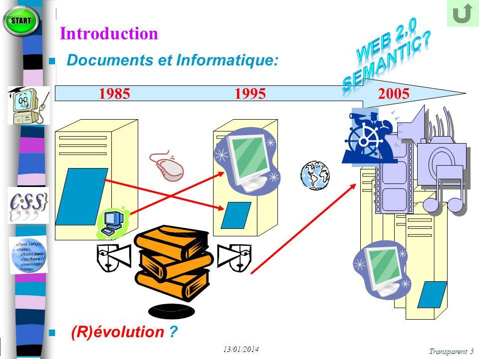 Transparent 66 13/01/2014 XML - Quelques Dialectes, parmi des dizaines n XHTML n XSL & XSL-FO n XSD – XML Schéma Définition n SMIL – pour le Multimédia n MathML – pour les formules mathématiques n CML – pour les formules chimiques n WML – pour les mobiles (Wap) n MusicML – pour la musique n WordML -- Office vers XML Un dialecte XML est un ensemble (Langage) de documents XML valides par rapport à une DTD ou un schéma XSD (donc bien formés)