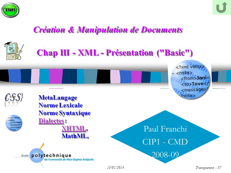 Paul Franchi CIP1 - CMD 2008-09 13/01/2014 Transparent - 57 Chap III - XML - Présentation (
