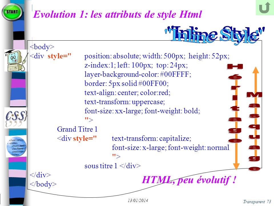 Transparent 73 13/01/2014 Evolution 1: les attributs de style Html <div style=