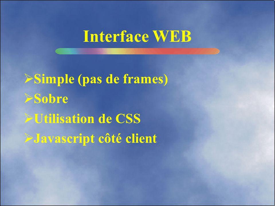 Architecture utilisée Interface WEB Base de données (O²) Serveurs HTTP (APACHE & TOMCAT)