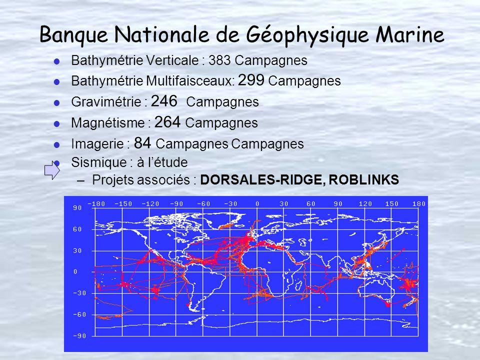 Banque Nationale de Géophysique Marine l Bathymétrie Verticale : 383 Campagnes l Bathymétrie Multifaisceaux: 299 Campagnes l Gravimétrie : 246 Campagnes l Magnétisme : 264 Campagnes l Imagerie : 84 Campagnes Campagnes l Sismique : à létude –Projets associés : DORSALES-RIDGE, ROBLINKS