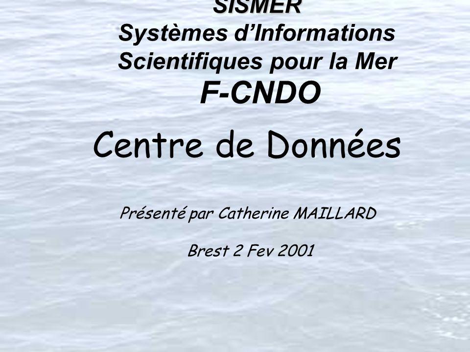 SISMER SISMER Systèmes dInformations Scientifiques pour la Mer F-CNDO Centre de Données Présenté par Catherine MAILLARD Brest 2 Fev 2001