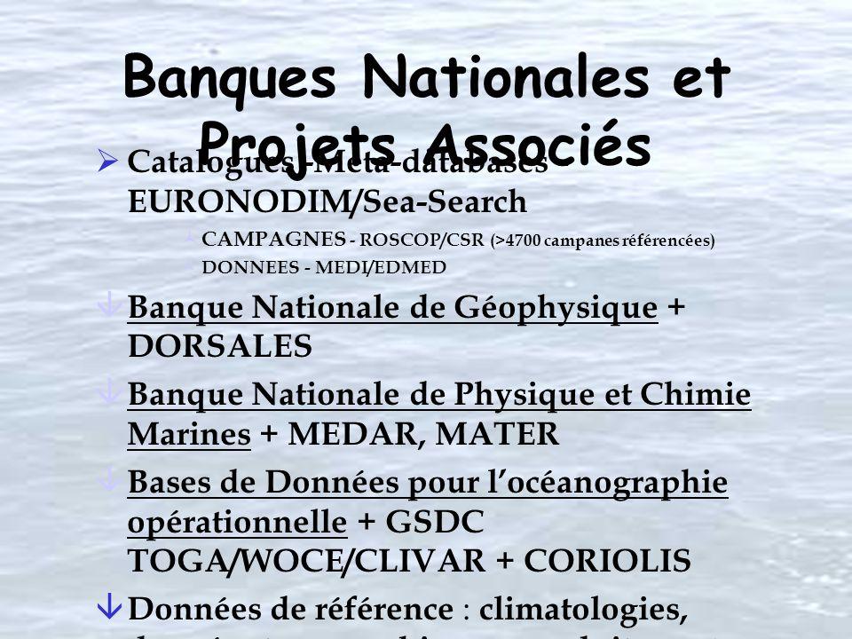 Banques Nationales et Projets Associés Catalogues -Meta-databases - EURONODIM/Sea-Search © CAMPAGNES - ROSCOP/CSR (>4700 campanes référencées) © DONNE