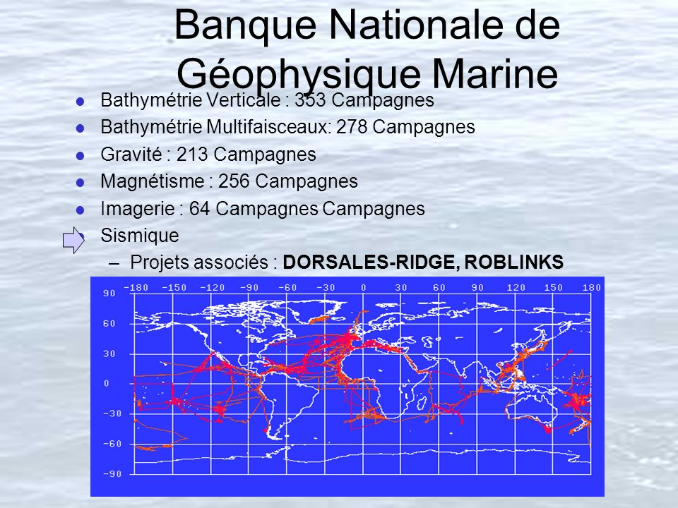 Banque Nationale de Géophysique Marine l Bathymétrie Verticale : 353 Campagnes l Bathymétrie Multifaisceaux: 278 Campagnes l Gravité : 213 Campagnes l Magnétisme : 256 Campagnes l Imagerie : 64 Campagnes Campagnes l Sismique –Projets associés : DORSALES-RIDGE, ROBLINKS