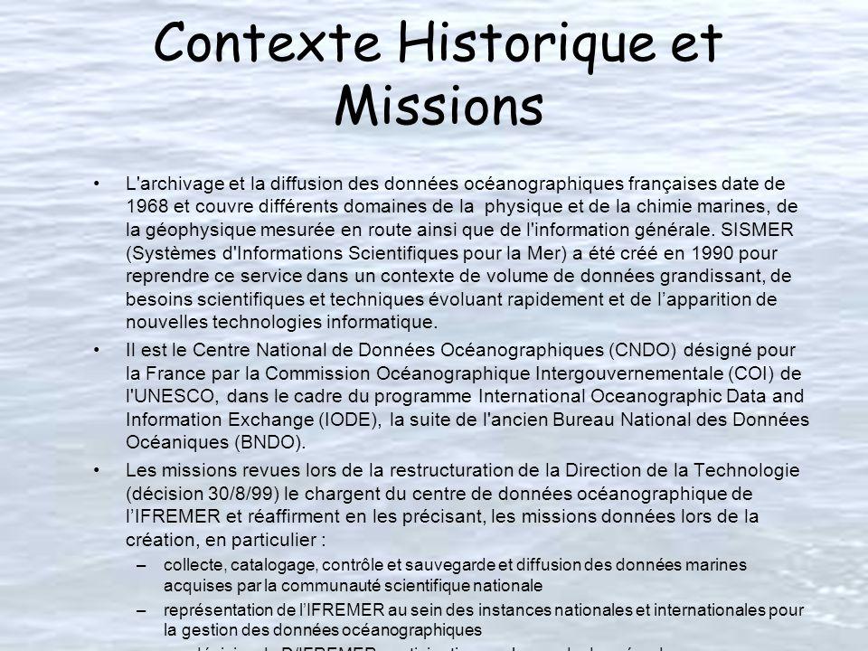 Contexte Historique et Missions L archivage et la diffusion des données océanographiques françaises date de 1968 et couvre différents domaines de la physique et de la chimie marines, de la géophysique mesurée en route ainsi que de l information générale.