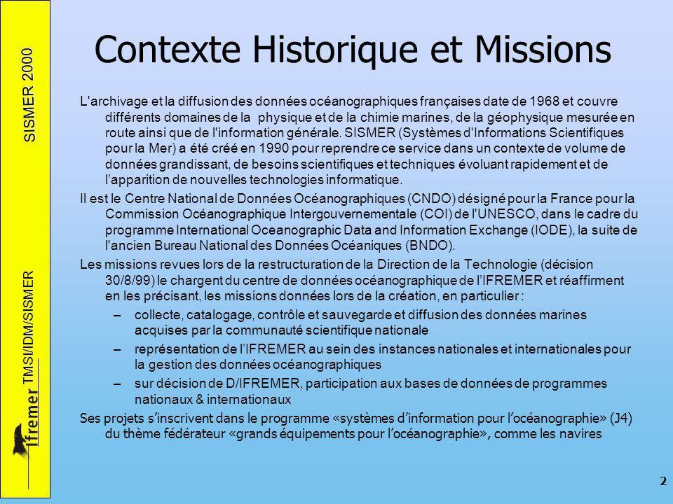 SISMER 2000 TMSI/IDM/SISMER 2 Contexte Historique et Missions L archivage et la diffusion des données océanographiques françaises date de 1968 et couvre différents domaines de la physique et de la chimie marines, de la géophysique mesurée en route ainsi que de l information générale.