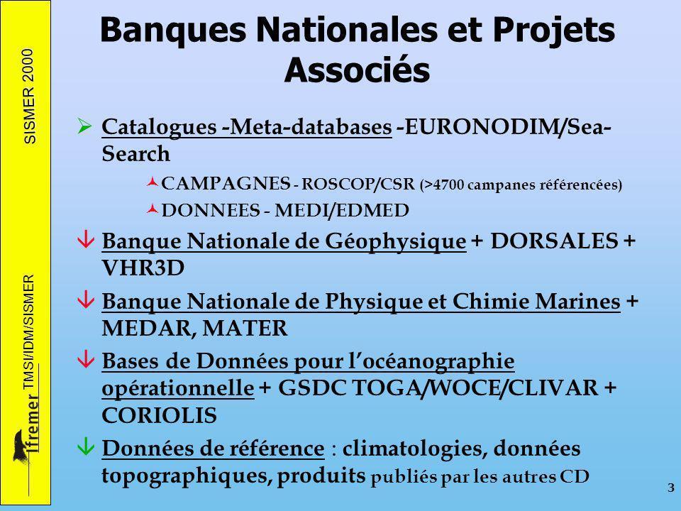 SISMER 2000 TMSI/IDM/SISMER 3 Banques Nationales et Projets Associés Catalogues -Meta-databases -EURONODIM/Sea- Search © CAMPAGNES - ROSCOP/CSR (>4700 campanes référencées) © DONNEES - MEDI/EDMED â Banque Nationale de Géophysique + DORSALES + VHR3D â Banque Nationale de Physique et Chimie Marines + MEDAR, MATER â Bases de Données pour locéanographie opérationnelle + GSDC TOGA/WOCE/CLIVAR + CORIOLIS â Données de référence : climatologies, données topographiques, produits publiés par les autres CD
