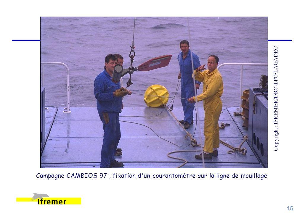 15 Campagne CAMBIOS 97, fixation d'un courantomètre sur la ligne de mouillage Copyright : IFREMER/DRO-LPO/LAGADEC