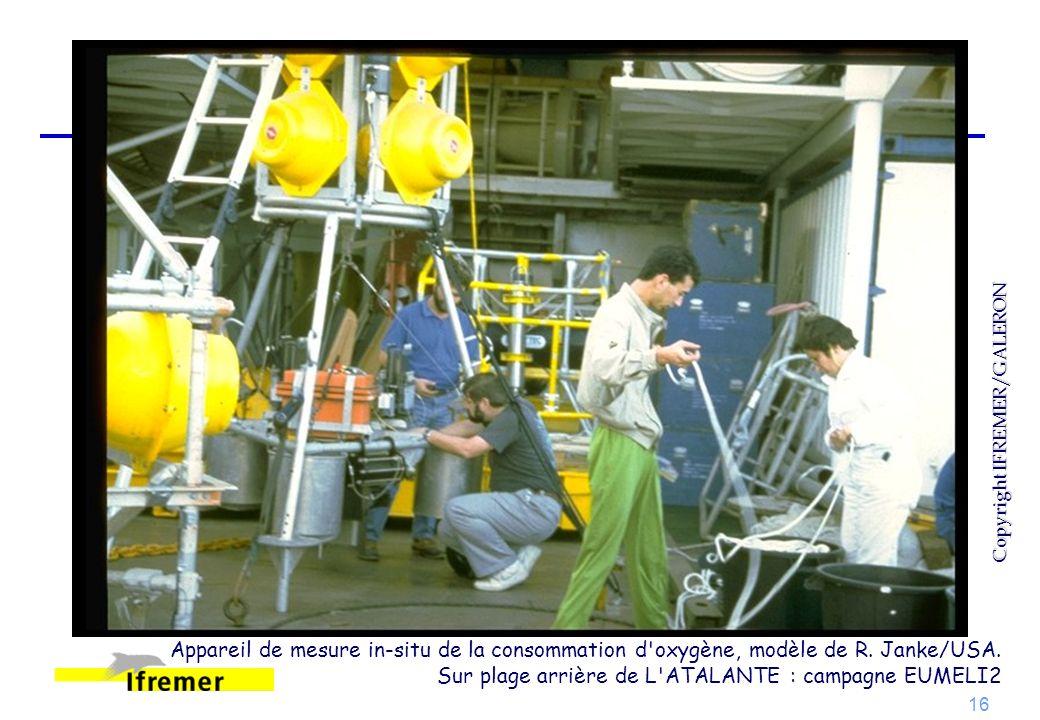 16 Appareil de mesure in-situ de la consommation d'oxygène, modèle de R. Janke/USA. Sur plage arrière de L'ATALANTE : campagne EUMELI2 Copyright IFREM
