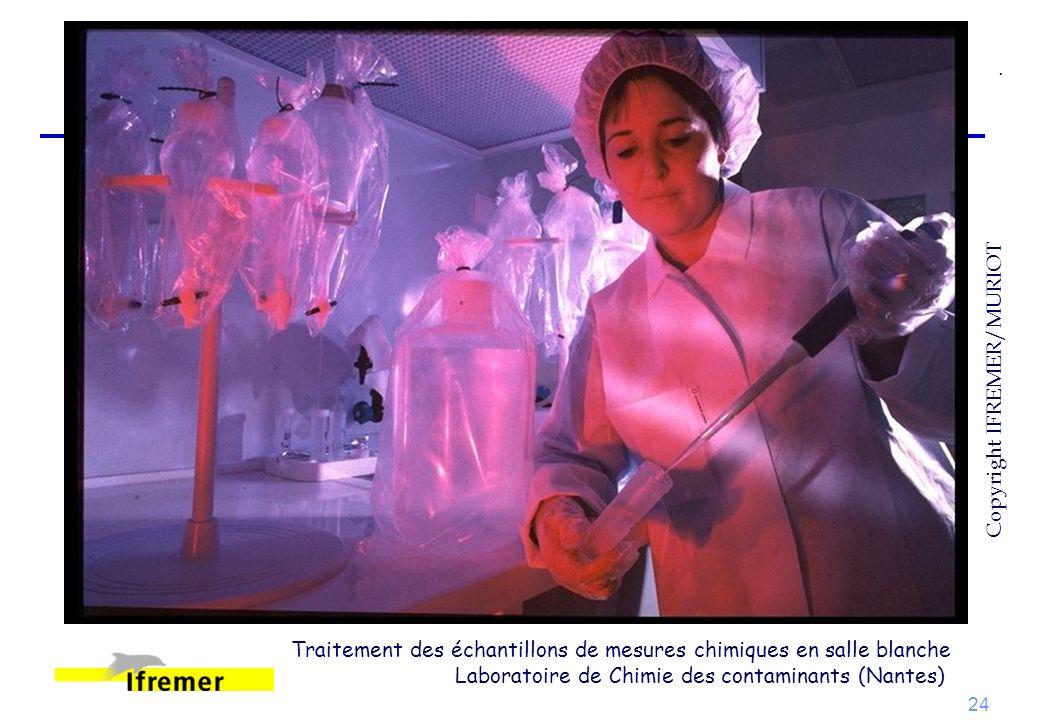 24 Traitement des échantillons de mesures chimiques en salle blanche Laboratoire de Chimie des contaminants (Nantes). Copyright IFREMER/MURIOT