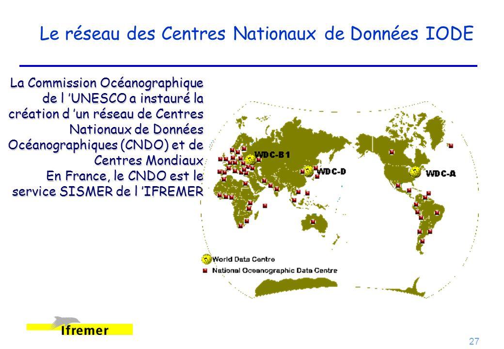 27 Le réseau des Centres Nationaux de Données IODE La Commission Océanographique de l UNESCO a instauré la création d un réseau de Centres Nationaux d