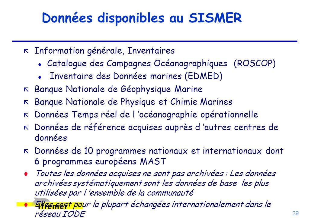 29 Données disponibles au SISMER ã Information générale, Inventaires l Catalogue des Campagnes Océanographiques (ROSCOP) l Inventaire des Données mari