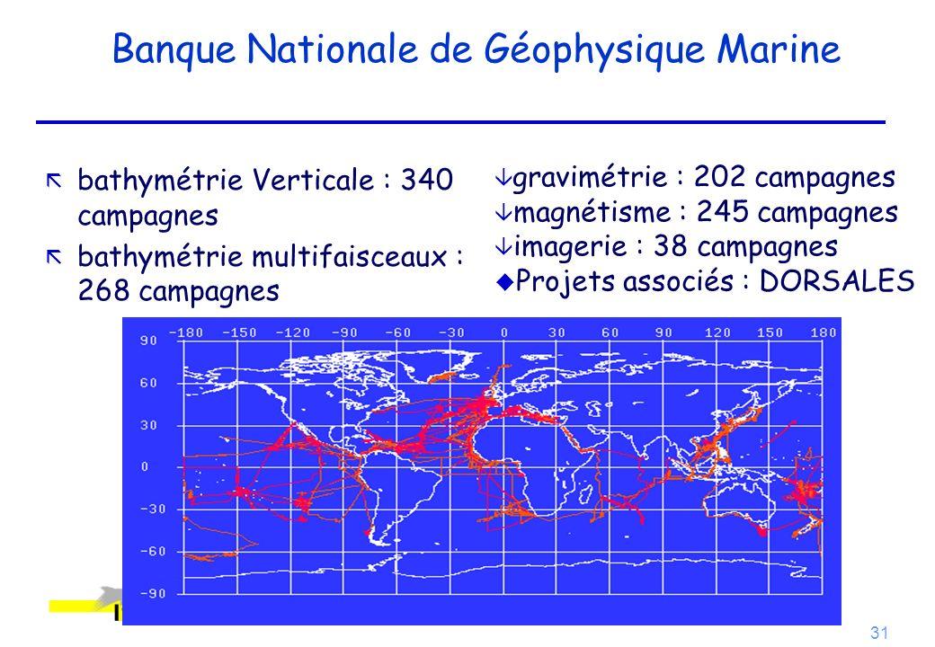 31 Banque Nationale de Géophysique Marine ã bathymétrie Verticale : 340 campagnes ã bathymétrie multifaisceaux : 268 campagnes gravimétrie : 202 campa