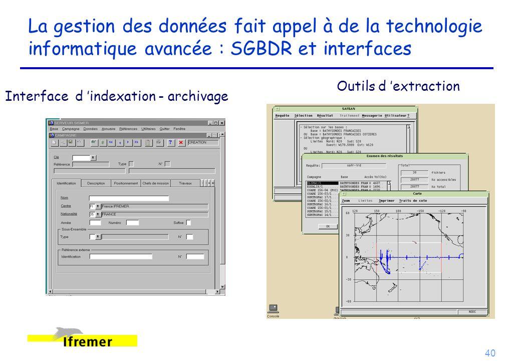 40 La gestion des données fait appel à de la technologie informatique avancée : SGBDR et interfaces Interface d indexation - archivage Outils d extrac