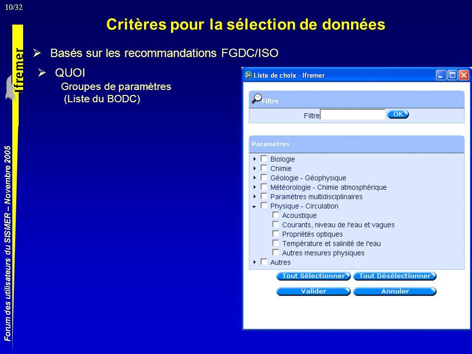 10/32 Forum des utilisateurs du SISMER – Novembre 2005 Basés sur les recommandations FGDC/ISO Critères pour la sélection de données QUOI Groupes de paramètres (Liste du BODC)
