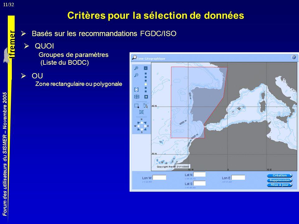 11/32 Forum des utilisateurs du SISMER – Novembre 2005 Basés sur les recommandations FGDC/ISO Critères pour la sélection de données QUOI Groupes de paramètres (Liste du BODC) OU Zone rectangulaire ou polygonale