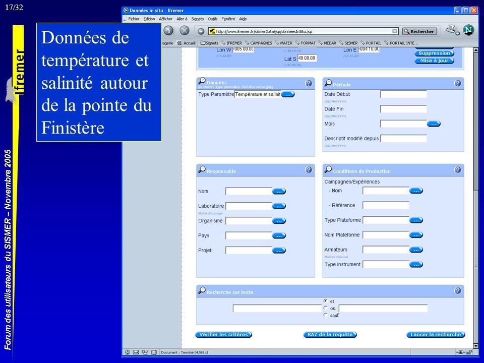 17/32 Forum des utilisateurs du SISMER – Novembre 2005 Données de température et salinité autour de la pointe du Finistère