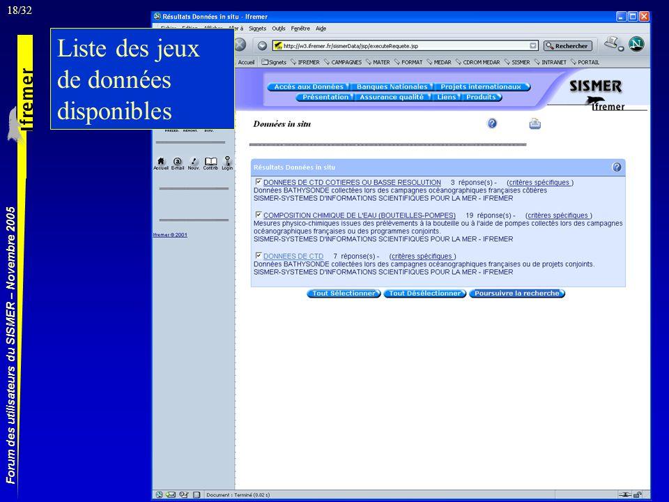 18/32 Forum des utilisateurs du SISMER – Novembre 2005 Liste des jeux de données disponibles