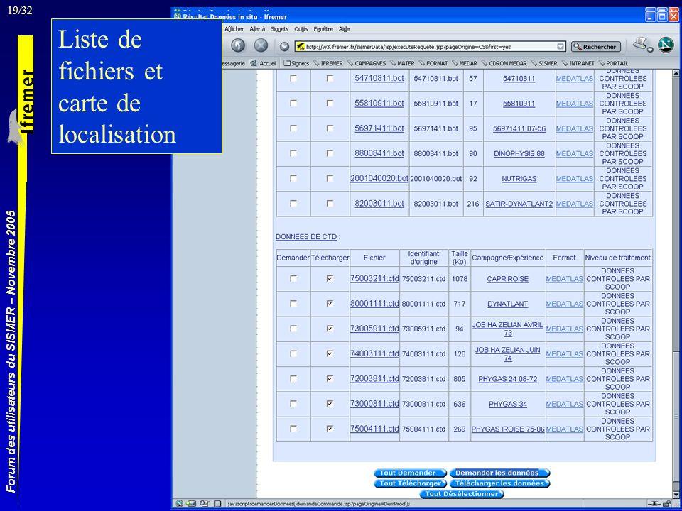 19/32 Forum des utilisateurs du SISMER – Novembre 2005 Liste de fichiers et carte de localisation