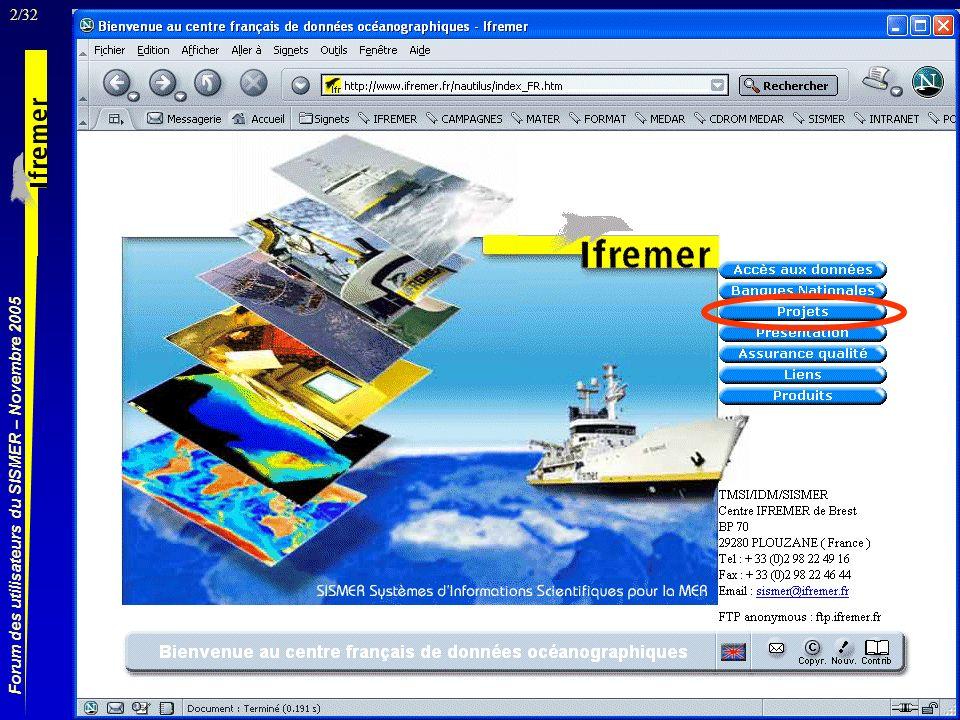 23/32 Forum des utilisateurs du SISMER – Novembre 2005 Email pour accéder aux données