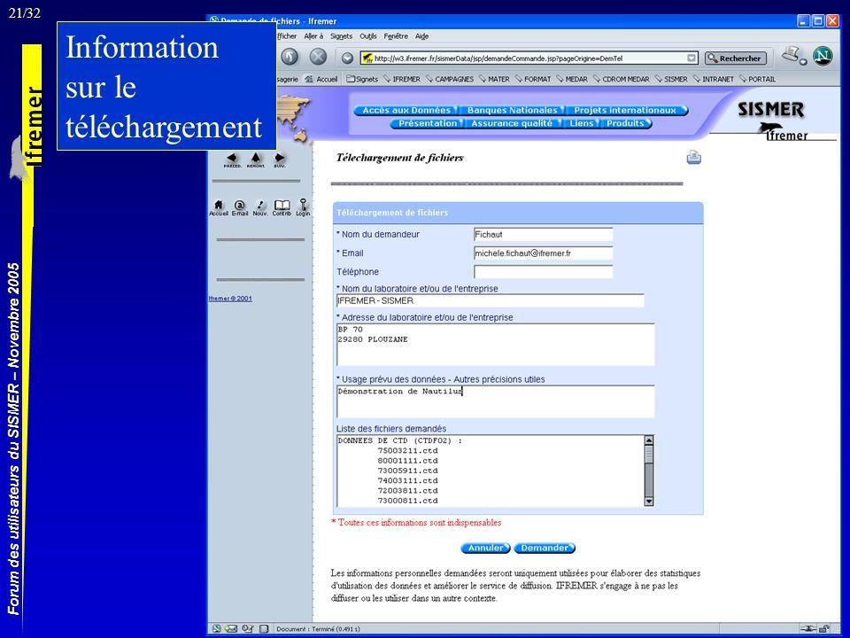 21/32 Forum des utilisateurs du SISMER – Novembre 2005 Information sur le téléchargement