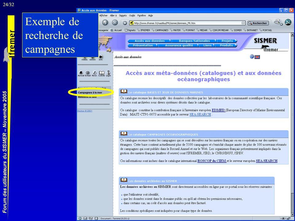 24/32 Forum des utilisateurs du SISMER – Novembre 2005 Exemple de recherche de campagnes