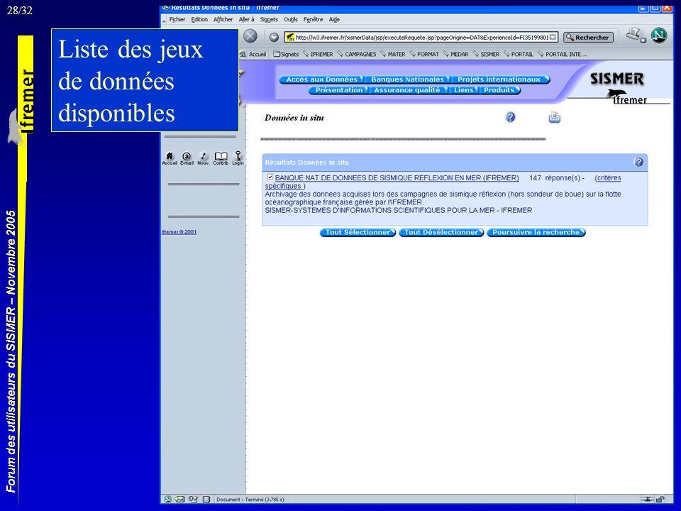 28/32 Forum des utilisateurs du SISMER – Novembre 2005 Liste des jeux de données disponibles