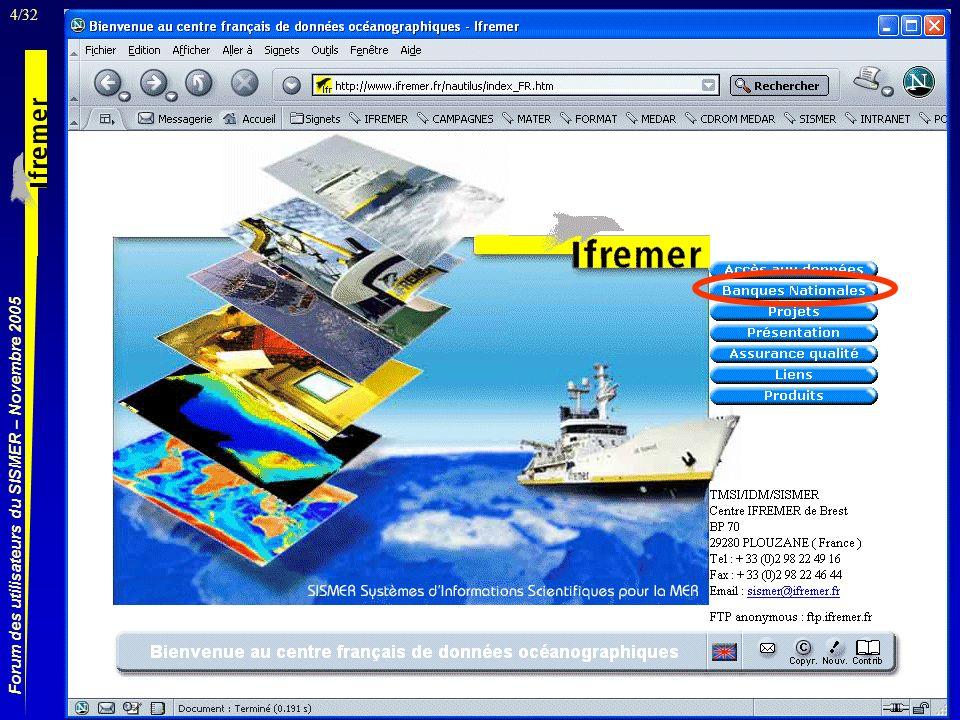 4/32 Forum des utilisateurs du SISMER – Novembre 2005