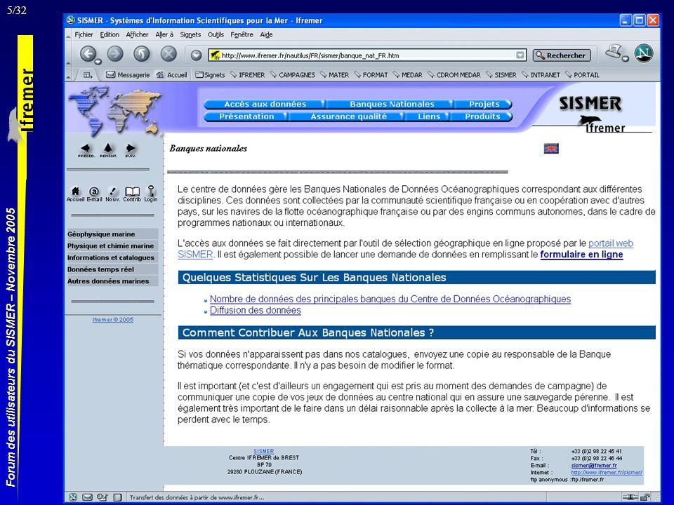 26/32 Forum des utilisateurs du SISMER – Novembre 2005 Liste des campagnes décrites dans la zone