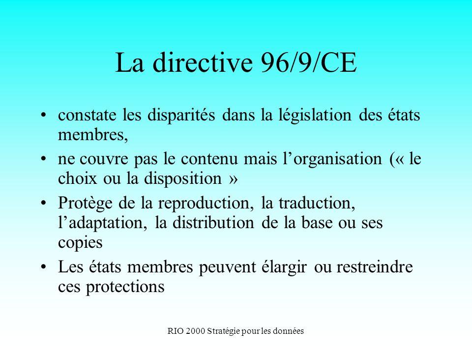 RIO 2000 Stratégie pour les données La directive 96/9/CE constate les disparités dans la législation des états membres, ne couvre pas le contenu mais lorganisation (« le choix ou la disposition » Protège de la reproduction, la traduction, ladaptation, la distribution de la base ou ses copies Les états membres peuvent élargir ou restreindre ces protections
