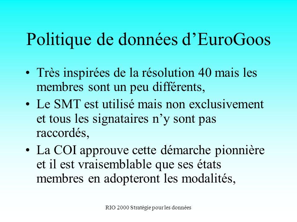 RIO 2000 Stratégie pour les données Politique de données dEuroGoos Très inspirées de la résolution 40 mais les membres sont un peu différents, Le SMT est utilisé mais non exclusivement et tous les signataires ny sont pas raccordés, La COI approuve cette démarche pionnière et il est vraisemblable que ses états membres en adopteront les modalités,