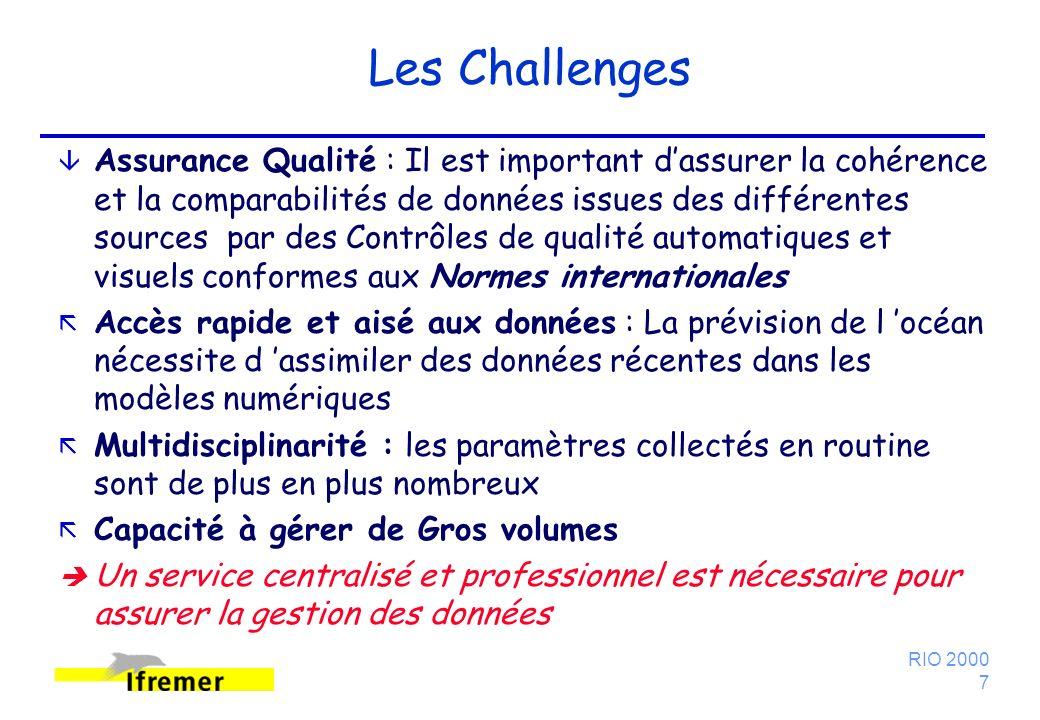 RIO 2000 7 Les Challenges â Assurance Qualité : Il est important dassurer la cohérence et la comparabilités de données issues des différentes sources