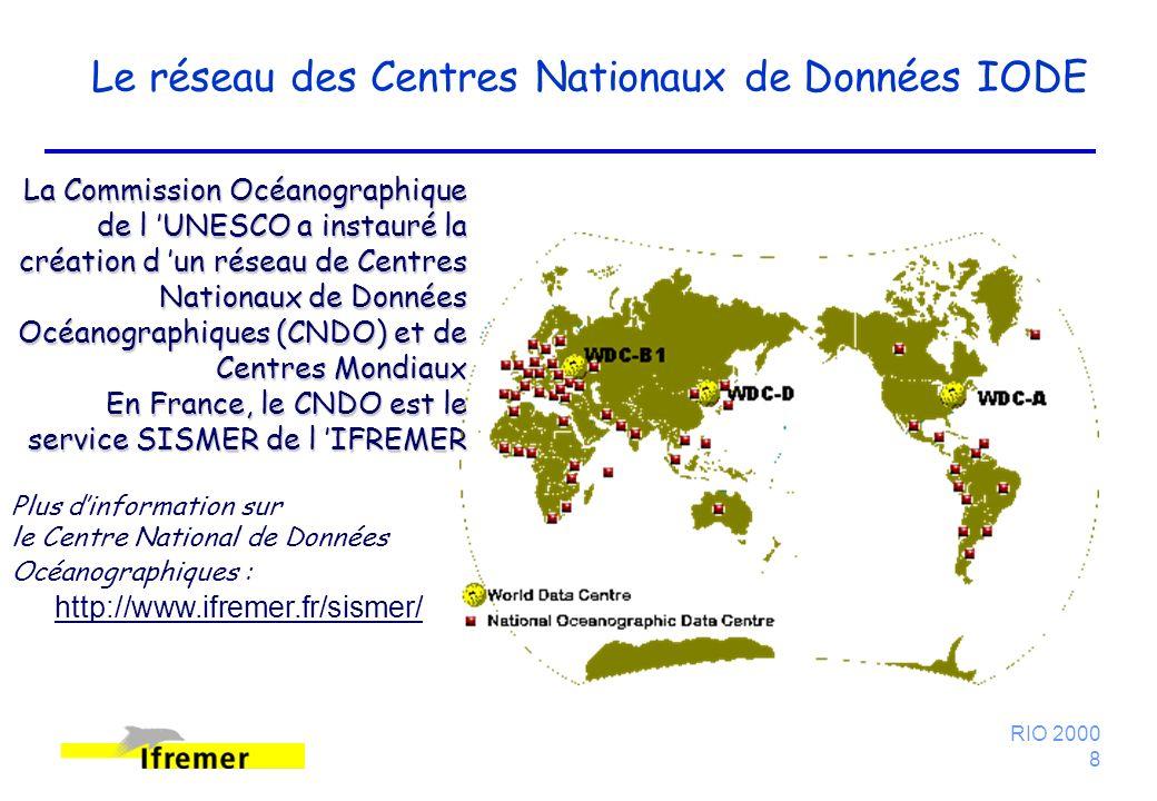RIO 2000 8 Le réseau des Centres Nationaux de Données IODE La Commission Océanographique de l UNESCO a instauré la création d un réseau de Centres Nationaux de Données Océanographiques (CNDO) et de Centres Mondiaux En France, le CNDO est le service SISMER de l IFREMER Plus dinformation sur le Centre National de Données Océanographiques : http://www.ifremer.fr/sismer/