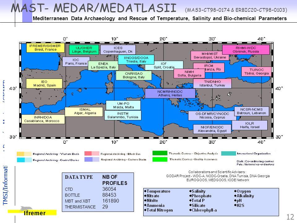 TMSI/Informatique et Données Marines/ SISMER 12 MAST- MEDAR/MEDATLASII (MAS3-CT98-0174 & ERBIC20-CT98-0103) Mediterranean Data Archaeology and Rescue