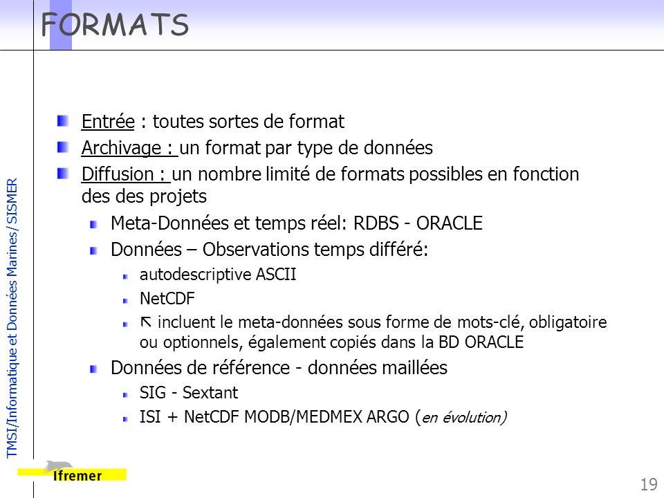 TMSI/Informatique et Données Marines/ SISMER 19 FORMATS Entrée : toutes sortes de format Archivage : un format par type de données Diffusion : un nomb