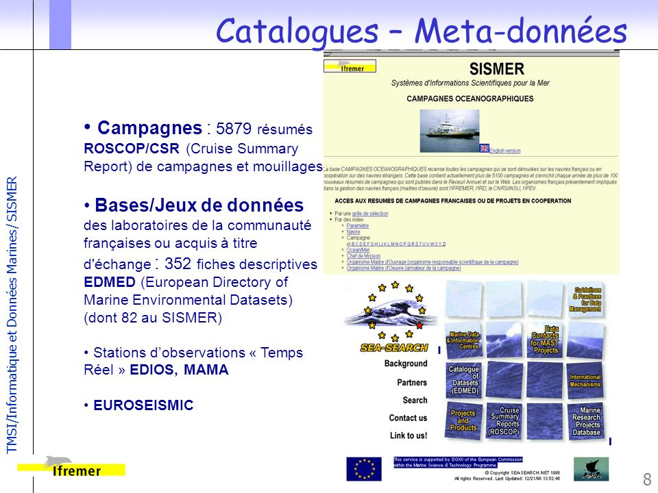 TMSI/Informatique et Données Marines/ SISMER 9 Banque Nationale de Géophysique Marine Navigation: 709 Campagnes Bathymétrie Verticale : 472 Campagnes Bathymétrie Multifaisceaux: 341 Campagnes Gravité : 311 Campagnes Magnétisme : 276 Campagnes Imagerie : 141 Campagnes Campagnes Sismique : en cours Projets associés : DORSALES-RIDGE, EUROSEISMICS, EXTRAPLAC