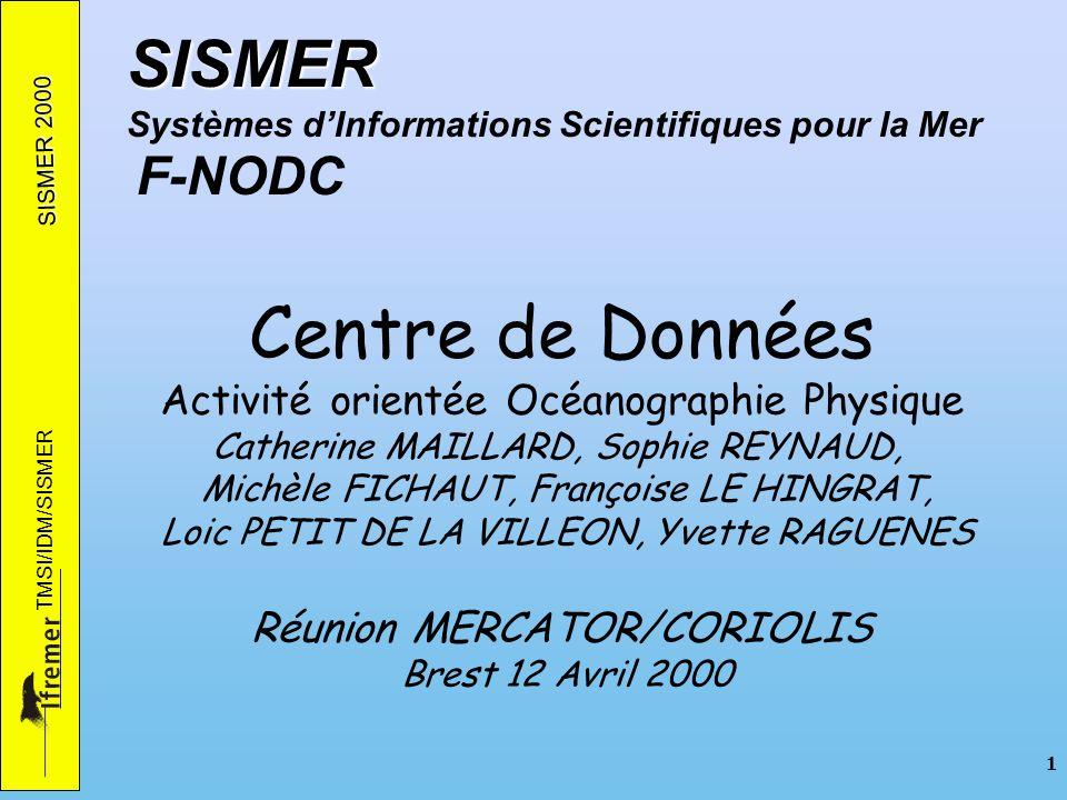 SISMER 2000 TMSI/IDM/SISMER 1 SISMER SISMER Systèmes dInformations Scientifiques pour la Mer F-NODC Centre de Données Activité orientée Océanographie