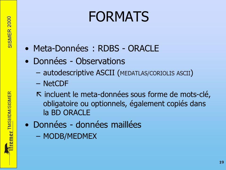 SISMER 2000 TMSI/IDM/SISMER 19 FORMATS Meta-Données : RDBS - ORACLE Données - Observations –autodescriptive ASCII ( MEDATLAS/CORIOLIS ASCII ) –NetCDF incluent le meta-données sous forme de mots-clé, obligatoire ou optionnels, également copiés dans la BD ORACLE Données - données maillées –MODB/MEDMEX