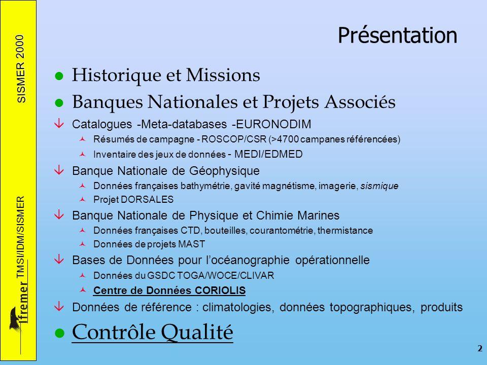 SISMER 2000 TMSI/IDM/SISMER 2 Présentation l Historique et Missions l Banques Nationales et Projets Associés âCatalogues -Meta-databases -EURONODIM ©R