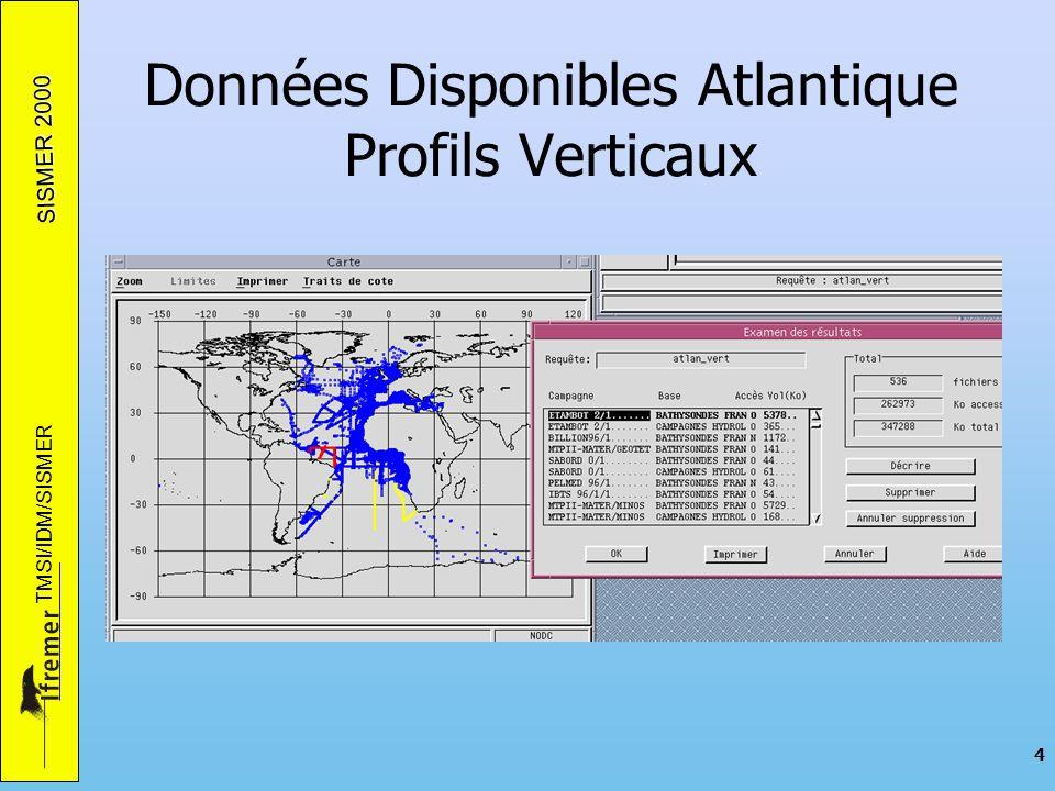 SISMER 2000 TMSI/IDM/SISMER 4 Données Disponibles Atlantique Profils Verticaux