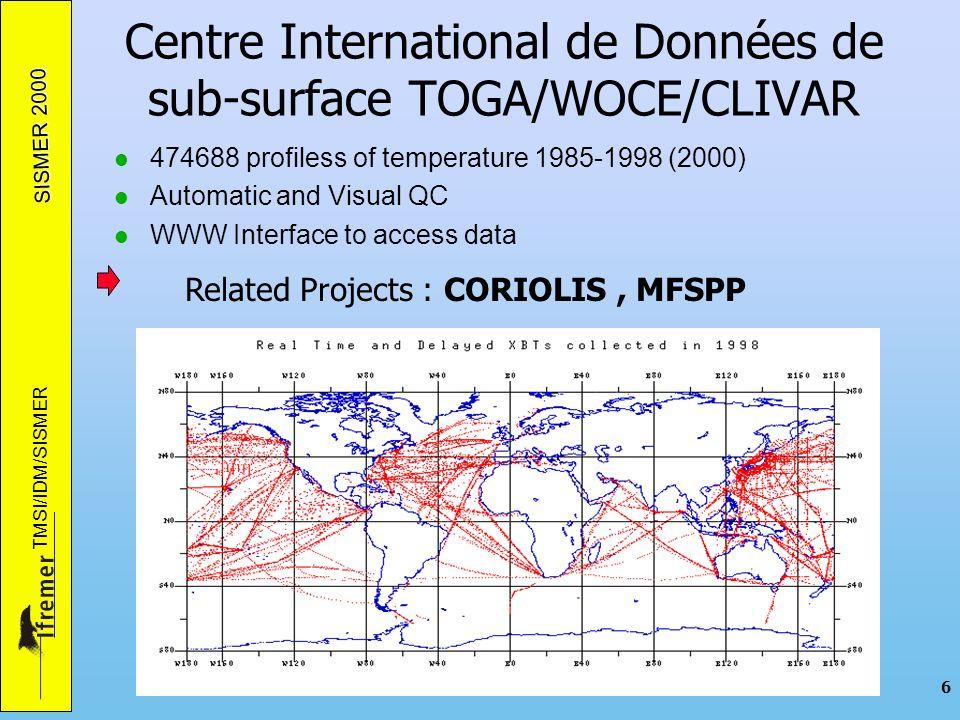 SISMER 2000 TMSI/IDM/SISMER 7 Assurance Qualité QC0 : Contrôle du format et de linformation QC1 : Contrôle de la position, date et des doublons QC2 : Contrôle des points de données Résultats : Elimination ou Flag de Qualité : Echelle GTSPP Normes et Réferences –ICES - GETADE Formatting Guidelines for Oceanographic Data Exchange (http://www.ices.dk/ocean/) –ICES - MDM QA Guidelines - CTD - Marine Data Management working Group (CIEM) Reports –UNESCO/COI/IODE : Manual of Quality Control Procedures for validation of Oceanographic Data - Manuals and Guides 26 –UNESCO/IOC/IODE : GF3 A General Formattin System for Geo-Referenced Data - Manual and Guides 17 0 1 2 34 59 No QC Correct Inconsistent Doubtful Bad ChangedMissing