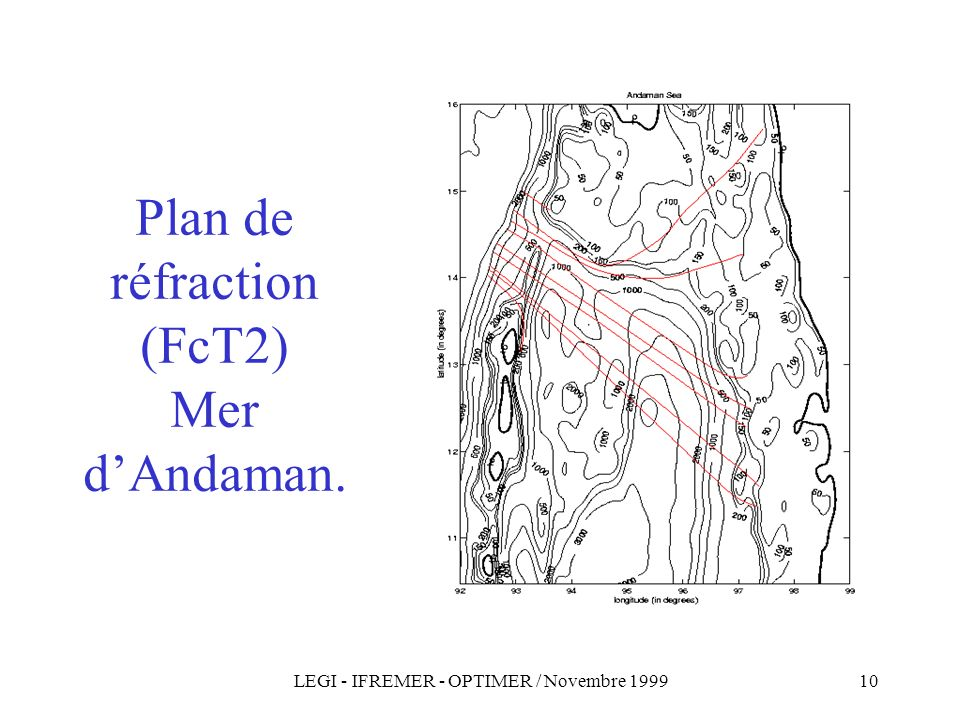 LEGI - IFREMER - OPTIMER / Novembre 199910 Plan de réfraction (FcT2) Mer dAndaman.