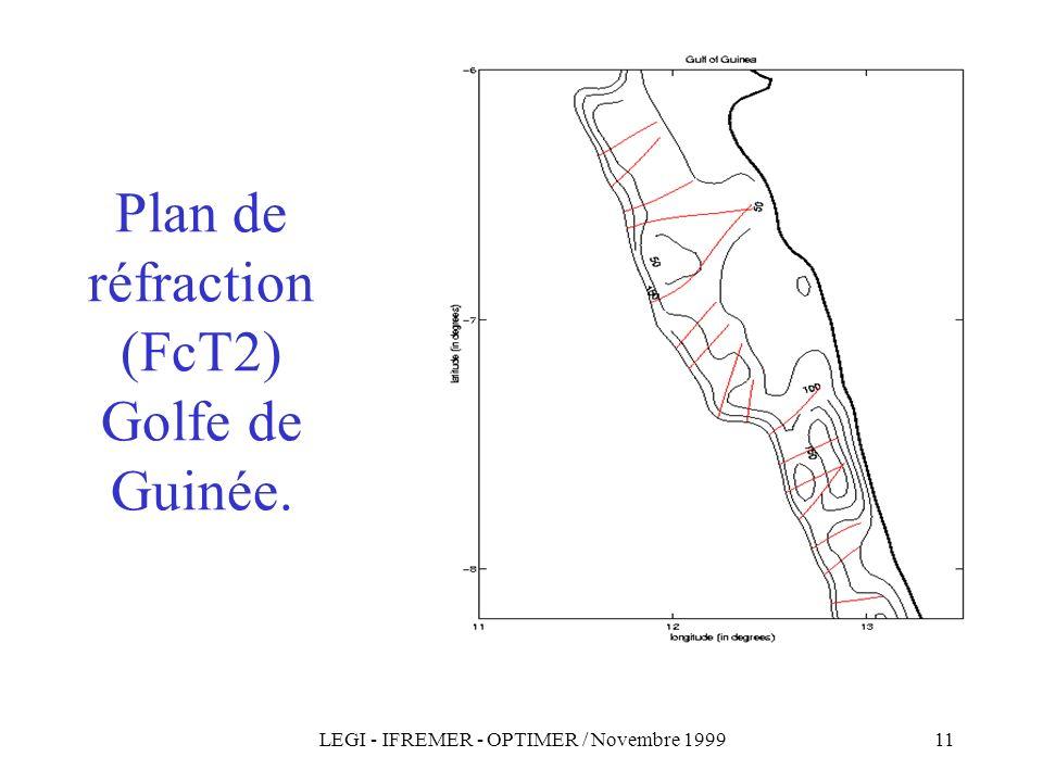 LEGI - IFREMER - OPTIMER / Novembre 199911 Plan de réfraction (FcT2) Golfe de Guinée.