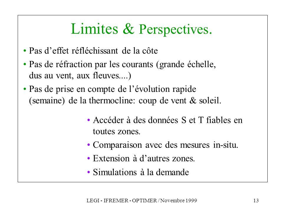 LEGI - IFREMER - OPTIMER / Novembre 199913 Limites & Perspectives. Accéder à des données S et T fiables en toutes zones. Comparaison avec des mesures