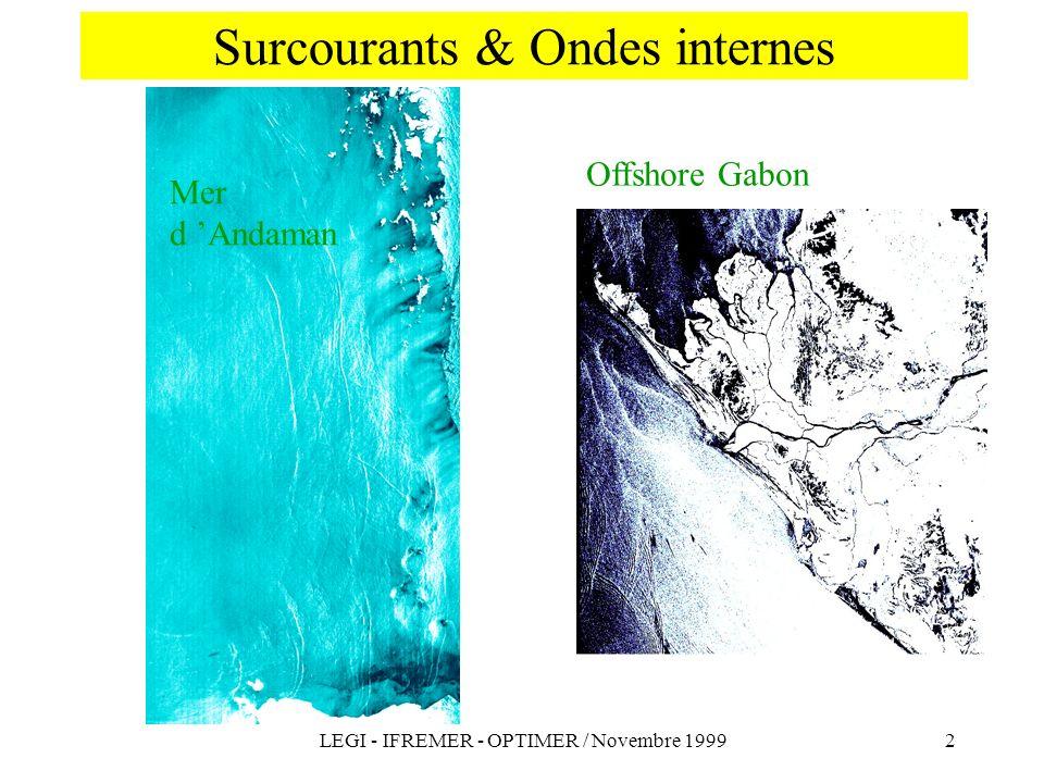 LEGI - IFREMER - OPTIMER / Novembre 19992 Surcourants & Ondes internes Mer d Andaman Offshore Gabon