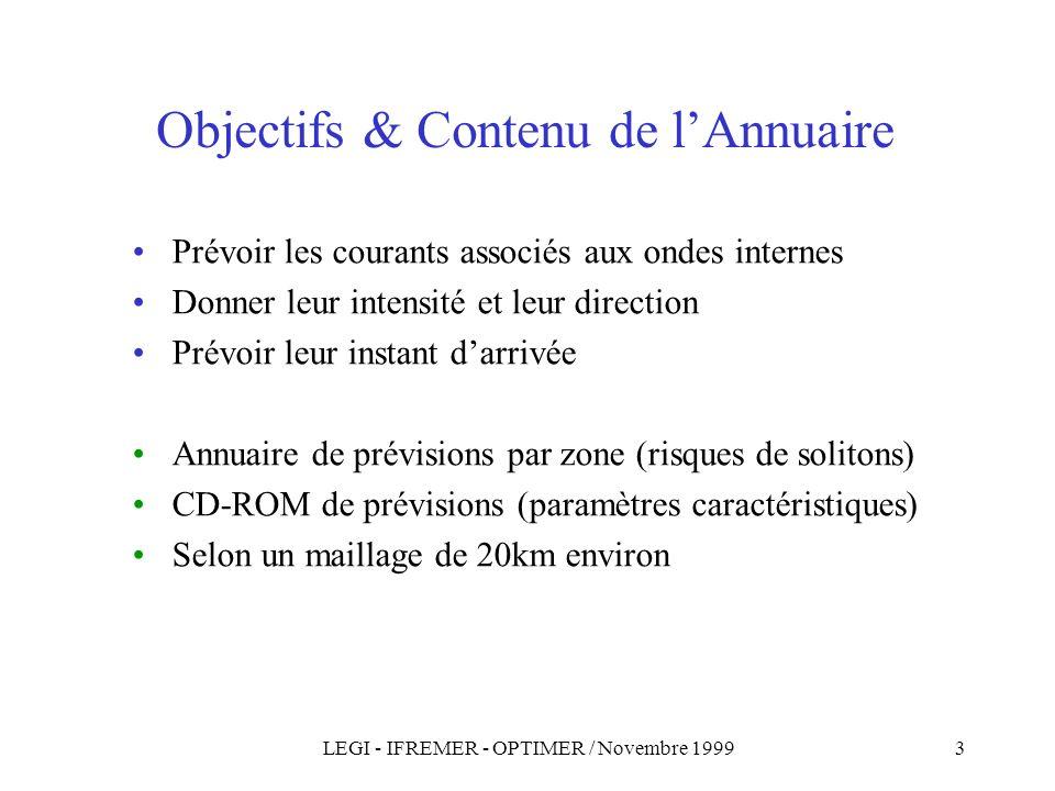 LEGI - IFREMER - OPTIMER / Novembre 19993 Objectifs & Contenu de lAnnuaire Prévoir les courants associés aux ondes internes Donner leur intensité et leur direction Prévoir leur instant darrivée Annuaire de prévisions par zone (risques de solitons) CD-ROM de prévisions (paramètres caractéristiques) Selon un maillage de 20km environ