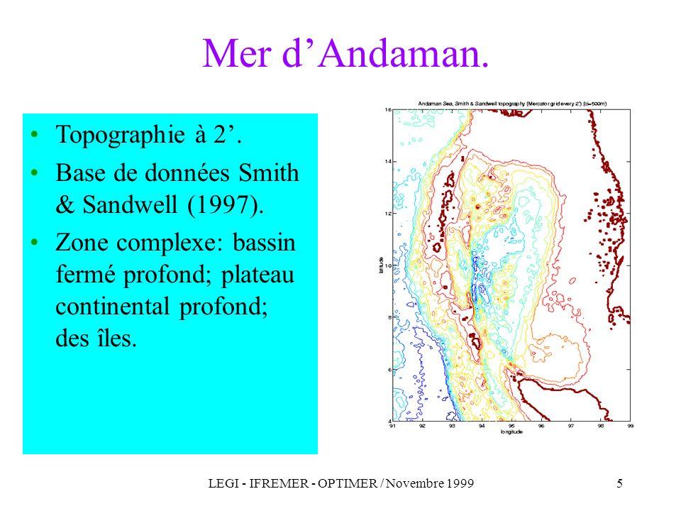 LEGI - IFREMER - OPTIMER / Novembre 19995 Topographie à 2. Base de données Smith & Sandwell (1997). Zone complexe: bassin fermé profond; plateau conti