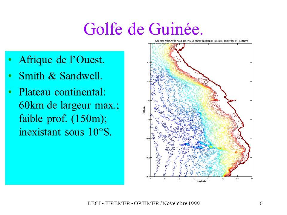 LEGI - IFREMER - OPTIMER / Novembre 19996 Afrique de lOuest. Smith & Sandwell. Plateau continental: 60km de largeur max.; faible prof. (150m); inexist