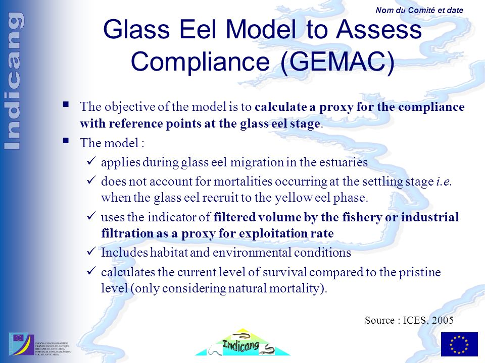 Nom du Comité et date Glass Eel Model to Assess Compliance (GEMAC) The objective of the model is to calculate a proxy for the compliance with reference points at the glass eel stage.